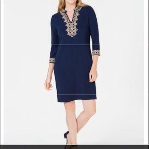 Blue designer front and sleeve dress